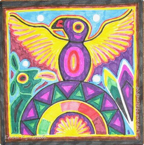 Я продолжаю знакомить детей с этно искусством разных континентов. После Южной Америки перебрались в Северную, в Мексику, и познакомились с искусством индейцев уичоли. фото 1