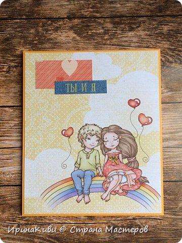 """Заказали мне именные открыточки на дни рождения для ребят 5-го класса. Сразу подумала про бумагу от Scrapberry's """"Мальчик и девочка"""" (""""Sweetheart""""), где есть подходящие карточки с мальчиками и девочками. Заказала два набора этой бумаги и, подходящий, как мне показалось, """"облачный"""" дырокол края.  Посмотрите, что у меня получилось. фото 12"""
