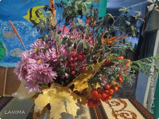 букет для осеннего бала в школе,состоит из хризантемы,рябина,боярышник,веточка туи,листья клёна,и разные степные травки. фото 3