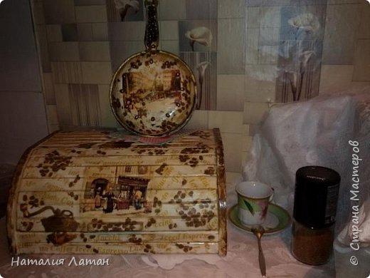 Хлебница и часы для моей кухни. Покраска,салфетки, декупажная карта,лак фото 1