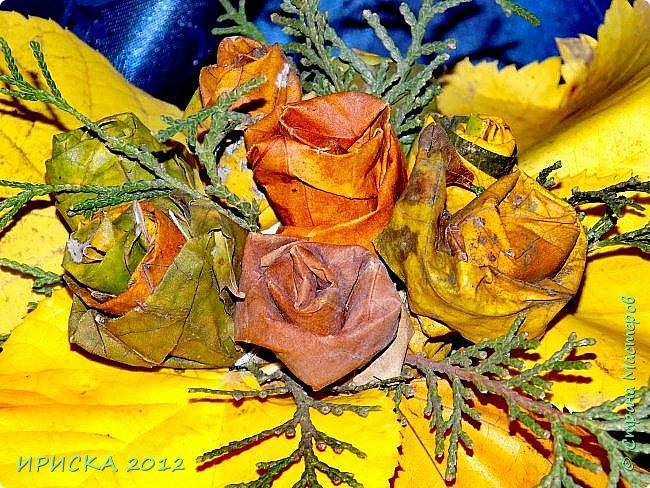 Привет всем гостям моей странички!!! Каждый год мы с доченькой собираем осенние опавшие листья и плетем из них веночки,  браслеты.  А в этом году я вспомнила,  что из листьев можно сделать розочки.  Вот такой осенний букет с розочками у нас получился.  фото 4