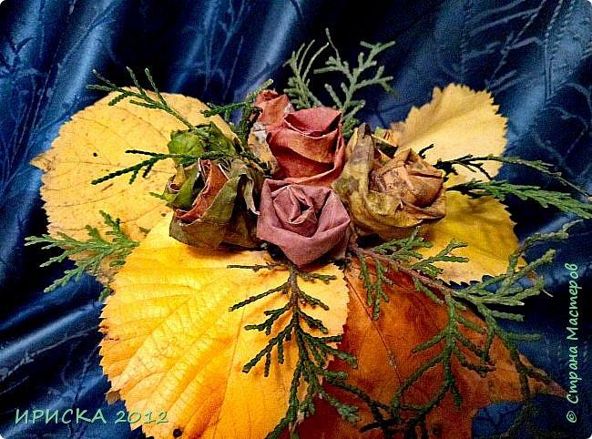 Привет всем гостям моей странички!!! Каждый год мы с доченькой собираем осенние опавшие листья и плетем из них веночки,  браслеты.  А в этом году я вспомнила,  что из листьев можно сделать розочки.  Вот такой осенний букет с розочками у нас получился.  фото 9