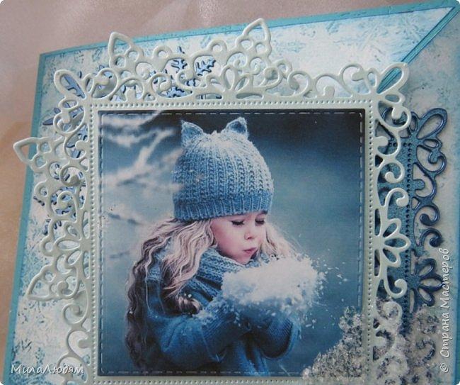 И опять я! Всем доброго времени суток. Я как увидела эту девочку в интернете,сразу поняла - хочу сделать открытку с этой картинкой. Ну до чего же хороша! И чем то на внучку мою Варю похожа. Дунула девочка на снег фото 4