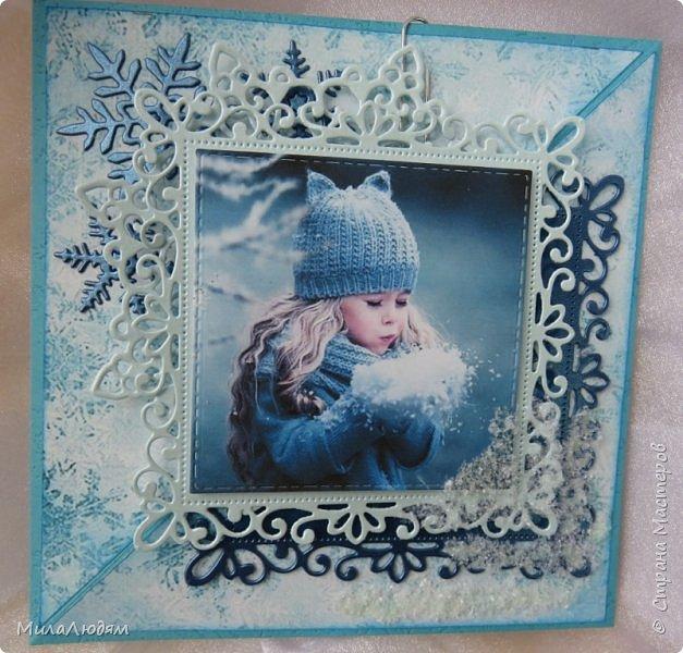 И опять я! Всем доброго времени суток. Я как увидела эту девочку в интернете,сразу поняла - хочу сделать открытку с этой картинкой. Ну до чего же хороша! И чем то на внучку мою Варю похожа. Дунула девочка на снег фото 16