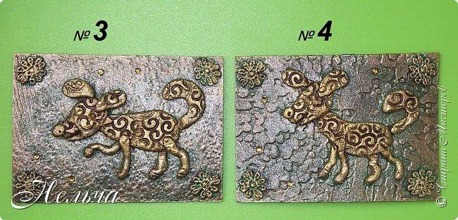"""Первая серия """"Собаки"""". Согласно восточному гороскопу, символом 2018 года станет желтая земляная Собака. Вот и я решила сделать своих собачек из соленого теста и позолотить. Украсила карточки кружевными цветочками и маленькими стразами.  фото 3"""