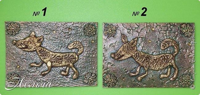 """Первая серия """"Собаки"""". Согласно восточному гороскопу, символом 2018 года станет желтая земляная Собака. Вот и я решила сделать своих собачек из соленого теста и позолотить. Украсила карточки кружевными цветочками и маленькими стразами.  фото 2"""