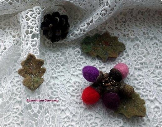 Желуди из шерсти,сваляны мокрым способом.Шляпка настоящая желудиная или желудевая:) , приклеена с помощью клея Момент кристал.  фото 9