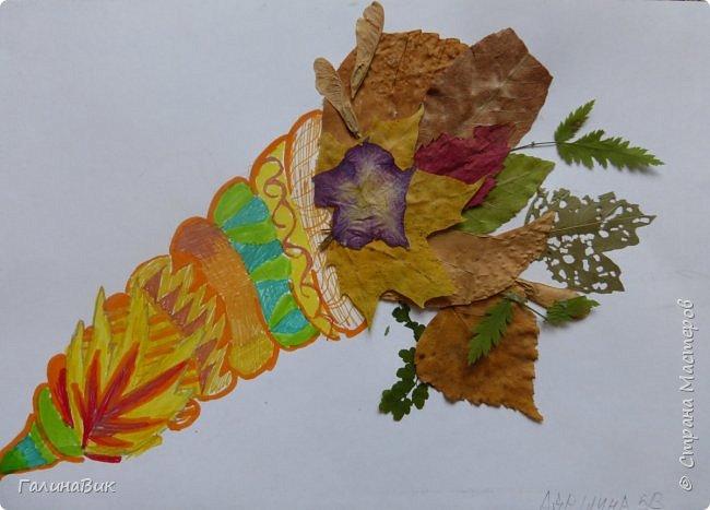Всем добрый день! Осень постепенно отдаёт бразды правления зиме. Она (осень), как всегда, прекрасна многобразием красок!!! С пятиклассниками сделали работы, посвящённые замечательному времени года! Это мой образец. фото 17