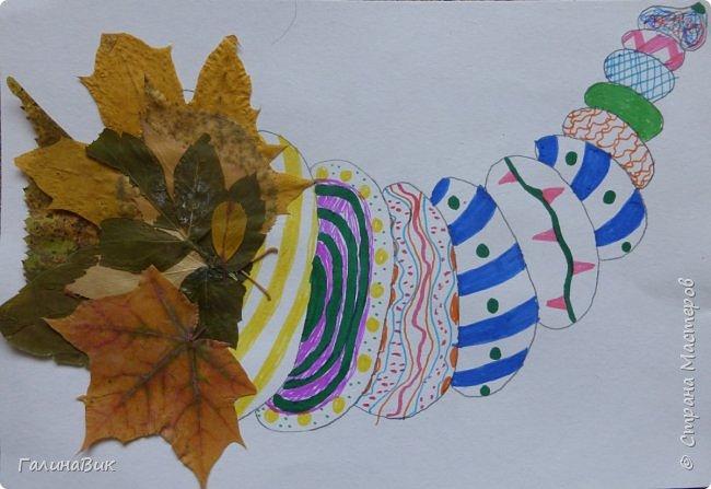 Всем добрый день! Осень постепенно отдаёт бразды правления зиме. Она (осень), как всегда, прекрасна многобразием красок!!! С пятиклассниками сделали работы, посвящённые замечательному времени года! Это мой образец. фото 24