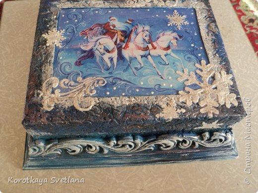 Сказочный новогодний ларец из обувной коробки. Процесс работы можно посмотреть здесь https://www.youtube.com/watch?v=wjUAKXrQHr4 фото 1