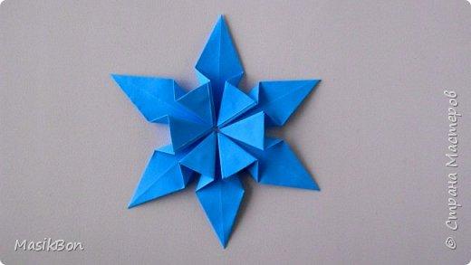 Оригами Снежинка из бумаги. Елочное украшение на Новый год 2018