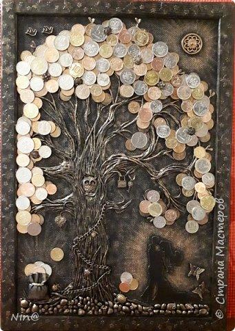 """Всем доброго времени суток! Это """"Денежное дерево"""" я сделала в подарок.  Огромное спасибо всем мастерам за подробный мастер-класс!!! Тани Сорокиной в МК скручивания жгутиков (http://stranamasterov.ru/node/308701), m_a_r_i_n_a http://stranamasterov.ru/node/578436?c=favorite_c. Размер панно-картины 30х45. Описание символики можно прочесть здесь - http://stranamasterov.ru/node/1088729 фото 1"""