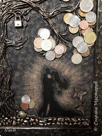"""Всем доброго времени суток! Это """"Денежное дерево"""" я сделала в подарок.  Огромное спасибо всем мастерам за подробный мастер-класс!!! Тани Сорокиной в МК скручивания жгутиков (http://stranamasterov.ru/node/308701), m_a_r_i_n_a http://stranamasterov.ru/node/578436?c=favorite_c. Размер панно-картины 30х45.  фото 10"""