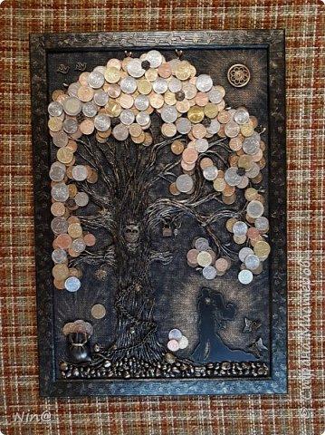 """Всем доброго времени суток! Это """"Денежное дерево"""" я сделала в подарок.  Огромное спасибо всем мастерам за подробный мастер-класс!!! Тани Сорокиной в МК скручивания жгутиков (http://stranamasterov.ru/node/308701), m_a_r_i_n_a http://stranamasterov.ru/node/578436?c=favorite_c. Размер панно-картины 30х45. Описание символики можно прочесть здесь - http://stranamasterov.ru/node/1088729 фото 8"""