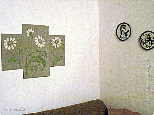 Вместо ковра... Мешковина,джут, деревянные бусинки.  фото 3