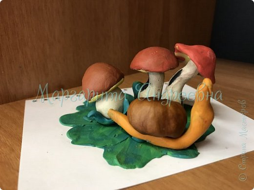 1) Совместная работа (мама+сынуля) в садик. Композиция «Под грибом» фото 7