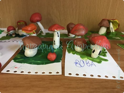 1) Совместная работа (мама+сынуля) в садик. Композиция «Под грибом» фото 10