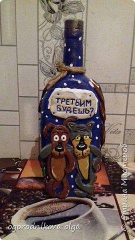 здравствуйте девчонки и мальчишки, а также мне любимая страна мастеров,....давно смотрела на мк Людмилы Горбенко такой декор бутылки ...и решилась сделать на день рождения мужу...вроде получилось муж довольный...вот мк http://stranamasterov.ru/node/723046 фото 1