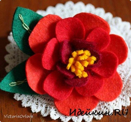 Цветы из фетра своими руками фото «Камелия»