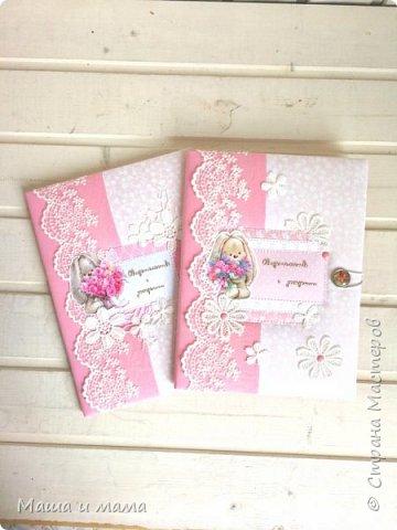 Здравствуйте!!!! Покажу сегодня 2 папочки для первых документов малышки. Заказали для одной мамочки двух девочек. Просили сделать похожими, но и разными в то же время. Вот и найдите 10 отличий )))))) фото 8