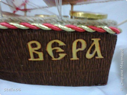 Кораблик сделан на заказ. Главное условие заказчика это российские купюры, якорь и название. фото 3