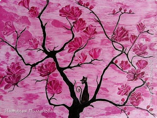И снова здравствуйте! Как и обещала мои волшебные деревья множатся. Внучка попросила нарисовать и сакуру, и кошечку, и чтобы было все розовое...Размер картины А3. фото 1