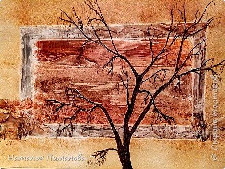 И снова здравствуйте! Как и обещала мои волшебные деревья множатся. Внучка попросила нарисовать и сакуру, и кошечку, и чтобы было все розовое...Размер картины А3. фото 4