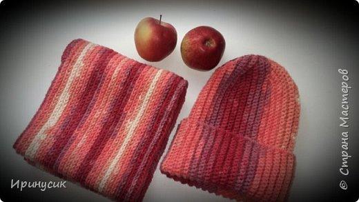 Комплект - шапочка бини и снуд в два оборота -на зиму из alize lanagold batik, крючок 4
