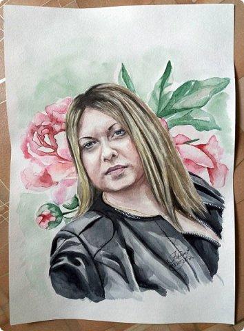 Женский портрет. Акварель. Формат А3. фото 2