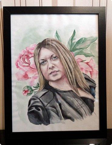 Женский портрет. Акварель. Формат А3. фото 5