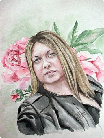 Женский портрет. Акварель. Формат А3. фото 1