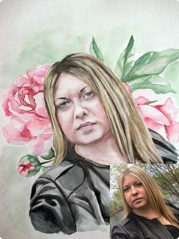 Женский портрет. Акварель. Формат А3. фото 6