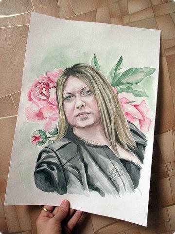 Женский портрет. Акварель. Формат А3. фото 3