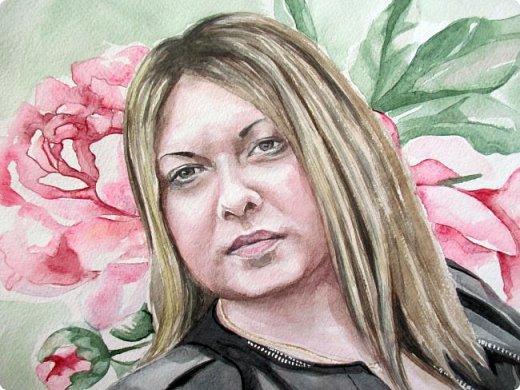 Женский портрет. Акварель. Формат А3. фото 4