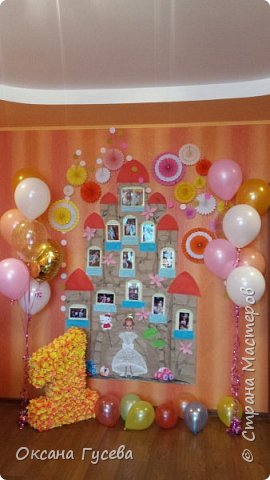 Первый день рождения у маленькой принцессы, так её все называют ласково с рождения! Ну а если принцесса, значит должен быть и замок! Так и родилась эта идея)  Рассказать и показать всем как мы росли и развивались этот год! фото 10