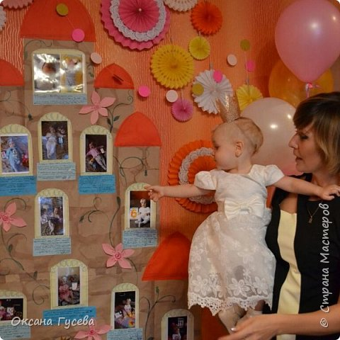 Первый день рождения у маленькой принцессы, так её все называют ласково с рождения! Ну а если принцесса, значит должен быть и замок! Так и родилась эта идея)  Рассказать и показать всем как мы росли и развивались этот год! фото 14