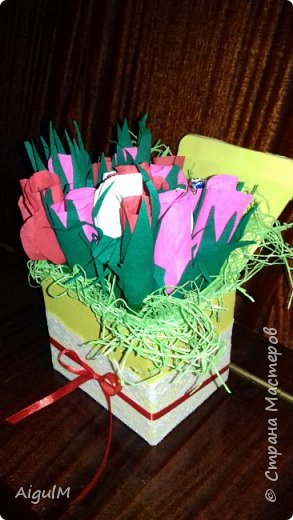 Моя первая работа роза с конфетами