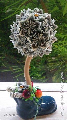 Приветствую, жители СМ!) Подарок для главного бухгалтера, купюры наминалом 5000 руб. Деревце получилось в красных тонах) фото 7