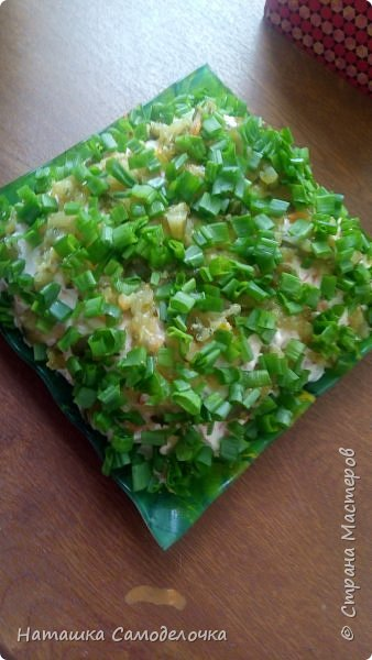 ВСЕМ ПРИВЕТ.Слои-картошка в терку,шпроты размять вилкой,морковь вар.в терку,яйцо в терку,соленый огурец в терку,лук зелень.Каждый слой майонез. фото 1