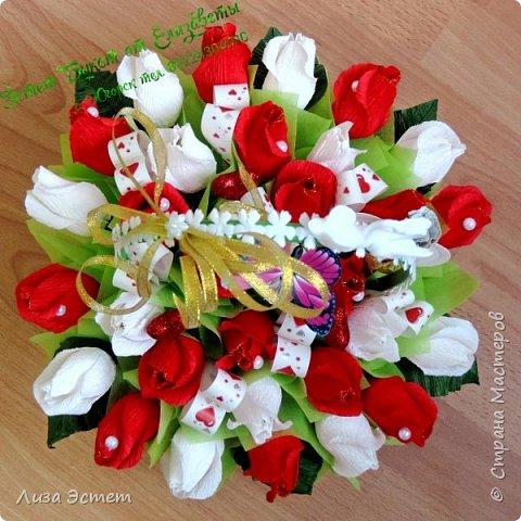 Корзинка свадебная)))В составе 31 цветок с конфетками Аленка и Трюфель оригинальный. фото 1