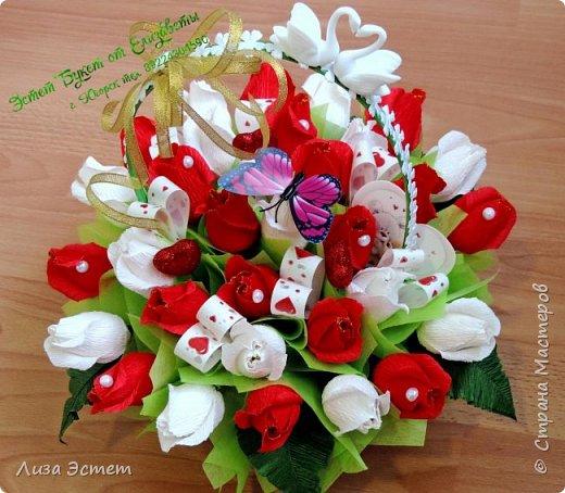 Корзинка свадебная)))В составе 31 цветок с конфетками Аленка и Трюфель оригинальный. фото 2