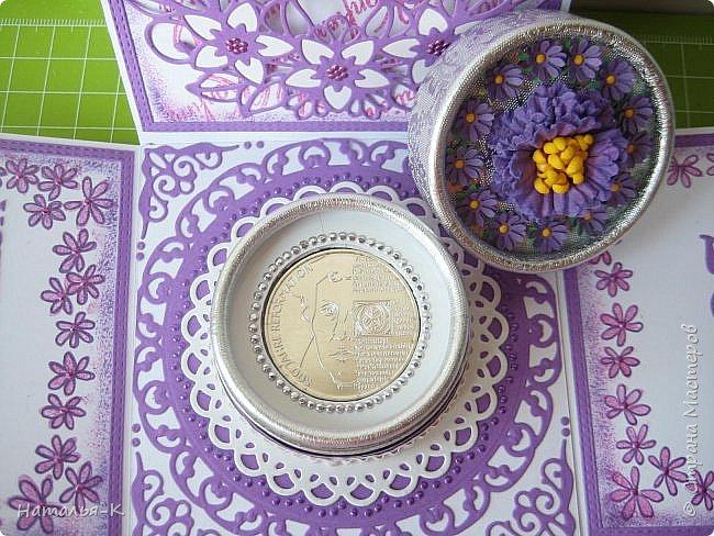 Добрый день или вечер, всем кто заглянул ко мне в гости.  Сегодня показываю ещё одну работу, подарок для внучки, тоже в сиреневом цвете. (В предыдущем посте показала пригласительные для её гостей.) Размер коробочки 10 х 10 см. фото 11