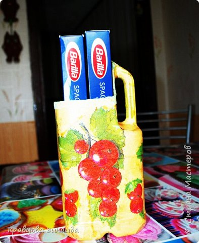 ДОБРЫЙ ДЕНЬ дорогие мастера и мастерицы , сегодня я к вам с поделками из пластиковых бутылок , сделала две подставки  для дома , одну для ножей другую для спагетти  вот они  фото 4