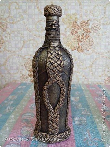 Моя бутылочка по МК Ирины Черниковой.  Плетение трикотажной ниткой. фото 7