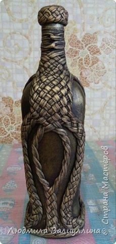 Моя бутылочка по МК Ирины Черниковой.  Плетение трикотажной ниткой. фото 6
