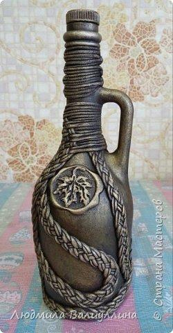 Моя бутылочка по МК Ирины Черниковой.  Плетение трикотажной ниткой. фото 4