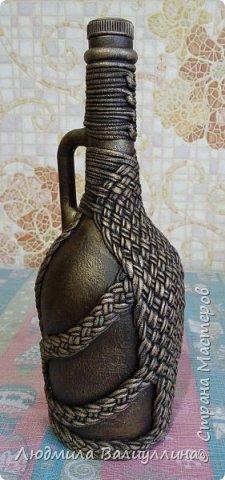 Моя бутылочка по МК Ирины Черниковой.  Плетение трикотажной ниткой. фото 2