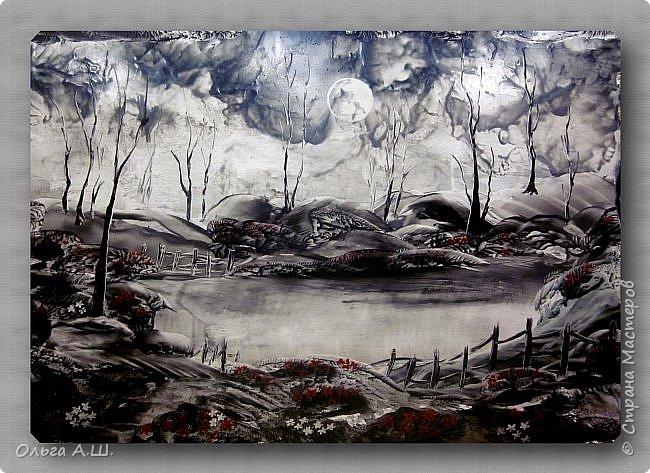 """""""Серый пейзаж"""" . (По мотивам работы June Green ). А3 фото 1"""
