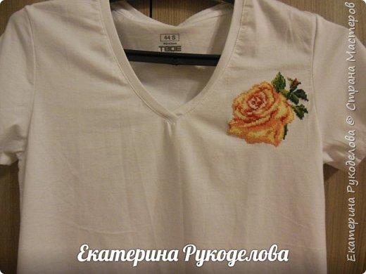 Футболка хлопок,производство Россия,44 размер,роза 10*10 см,нитки гамма фото 1