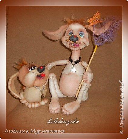 Пёсик Жорик и его друг -щенок с эрокезом.Выполнены по мк Е Лаврентьевой. PS сделала в компанию ещё девочку. фото 1
